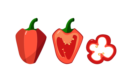 Set of three red peppers jn a white background. Whole, half, a slice of sweet pepper. Vector illustration.