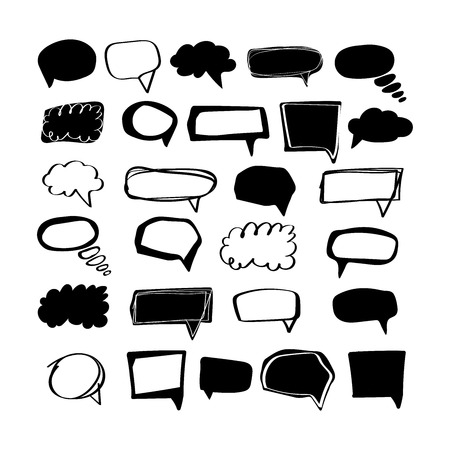 Big set think & talk speech bubbles for messages. Artistic collection of hand drawn doodle style comic balloon, cloud, geometric shape design elements. Frame dialog chat isolatet on white background. Vetores