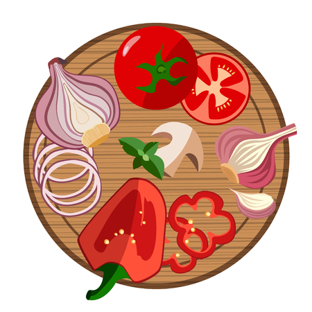 Bright vector illustration of colorful cutting board and vegetables. Cooking card poster with tomatoes, pepper, onion, garlic, mushroom, basil used for magazine, poster, card, menu cover, web.