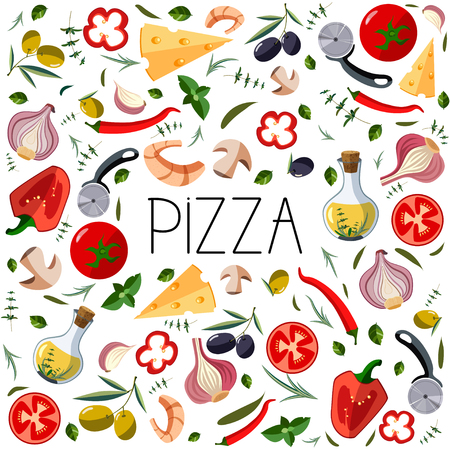 Banner for pizza box. Traditional different ingredients for italian pizza: vegetables, olive oil, herbs, disc knife. 向量圖像