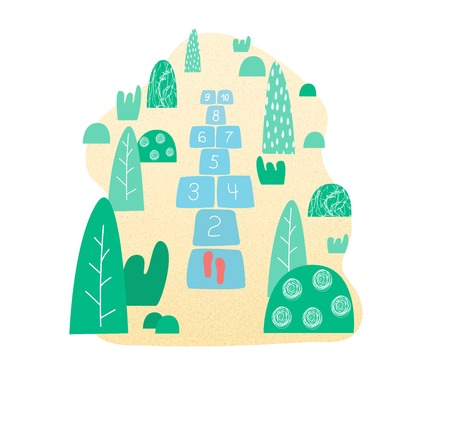 Hopscotch. Children's street game in flat, vector illustration. Hopscotch game in the park.