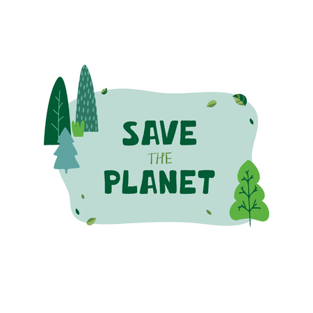 Illustration with green trees, leaves and hand lettering save the planet in cartoon style. Template for benner, flyer, brochure protection of ecology. Vector Vecteurs