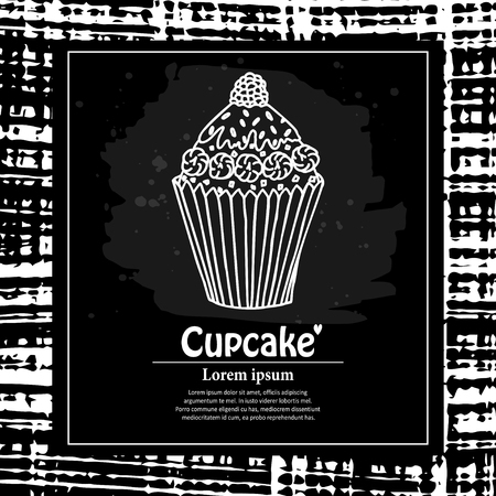 Creative universal card with cupcake end abstract background. Hand drawn style vector card for tea party background.