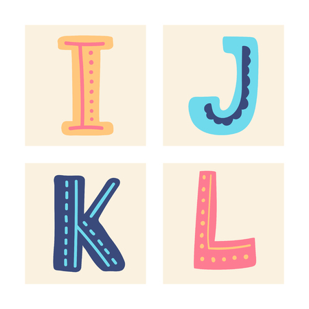 Cute colorful alphabet with textural stroke. Hand letters Upper letterswith doodle patterns. Cute funny letters I J K L for children's books, cards, banners, clothes end holiday and birthday.
