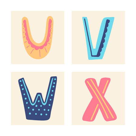 Cute colorful alphabet with textural stroke. Hand letters Upper letterswith doodle patterns. Cute funny letters U V W X for children's books, cards, banners, clothes end holiday and birthday.