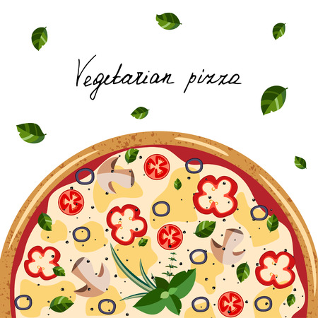 Banner for pizza box. Background with whole vegetarian Pizza, herbs, hand letter. Vector illustration isolated on white background. Colorful  flat style.