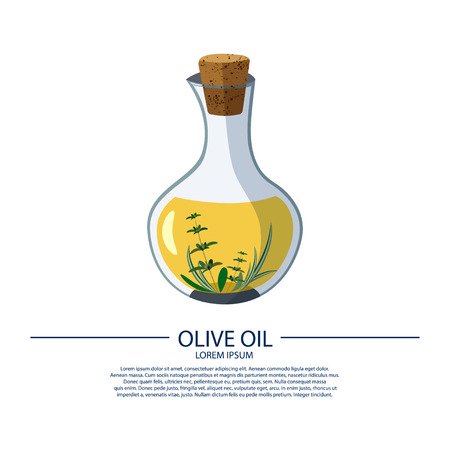 A bottle of olive oil on a white background with fragrant herbs. Vector illustration. Illustration