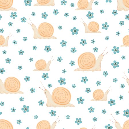 Seamless pattern with cute snails and flowers on a white background. Pattern for fabric, textile, wallpaper, wrapping paper, clothes. Vector illustration.