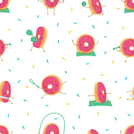 Seamless pattern with funny cute donuts in sports. Donuts meditates, plays basketball, tennis, running, jumping rope, Boxing. Vector illustration for kids postcards, posters, fabric, Wallpaper Illusztráció