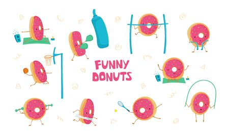 Set with funny cute donuts in sports. Donuts meditates, plays basketball, tennis, running, jumping rope, Boxing. Vector illustration for kids postcards, posters, fabric, Wallpaper Illusztráció