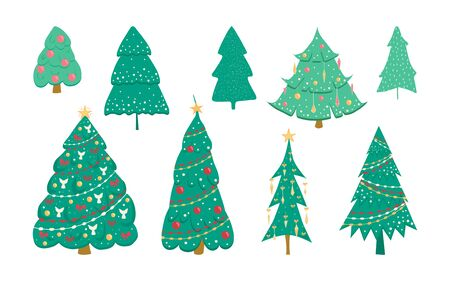 Christmas tree set decorated with toys isolated on white background. Christmas tree in cartoon style for postcards, banner, poster. Vector illustration