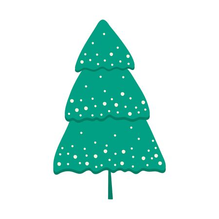 Christmas tree decorated with snow isolated on white background. Christmas tree in cartoon style for postcards, banner, poster. Vector illustration