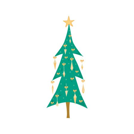 Christmas tree decorated with toys isolated on white background. Christmas tree in cartoon style for postcards, banner, poster. Vector illustration