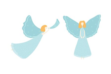 Set of Christmas angels isolated on white background. Angel illustration in flat style for poster, postcard, banner. Vector Ilustração