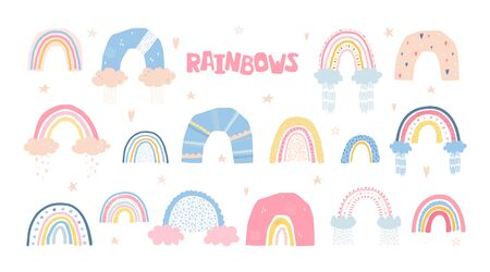Set rainbows with sun, clouds, rain in cartoon style isolated on white background for kids. Cute illustration in hand drawn style for posters, prints, cards, fabric, childrens books. Vector