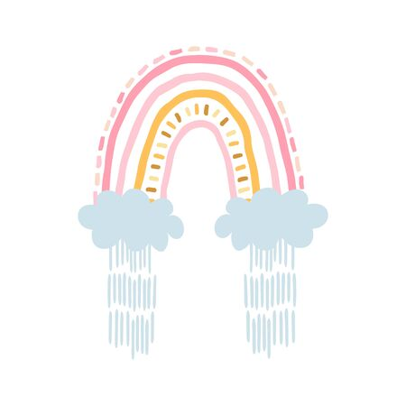 Rainbow with clouds, rain in cartoon style isolated on white background for kids. Cute illustration in hand drawn style for posters, prints, cards, fabric, childrens books, interior design. Vector