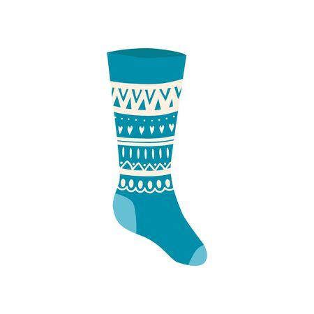 Colored Christmas sock in hand drawn style isolated on white background. Illustration of sock with skandinavian patterns, stripes. vector