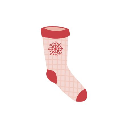 Colored sock in hand drawn style isolated on white background. Illustration of sock with patterns, stripes, snowflakes. vector 向量圖像