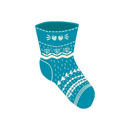 Colored sock in hand drawn style isolated on white background. Illustration of sock with skandinavian patterns, stripes. vector  イラスト・ベクター素材