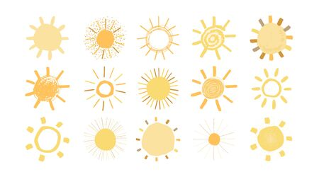 Set of yellow suns in hand drawn style isolated on white background. Cute funny simple illustration for kids. Sun icons. Vector. Çizim