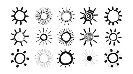 Set of black and white suns in hand drawn style isolated on white background. Collection Suns icon. Vector.
