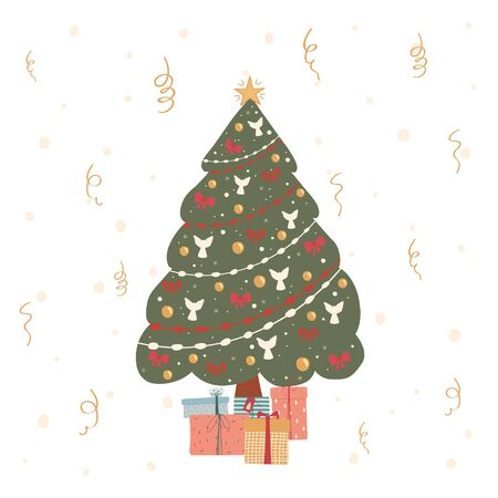 Decorated christmas tree with gifts in flat style. Illustration with Christmas tree for greetings, postcards, banner, poster. Vector  イラスト・ベクター素材