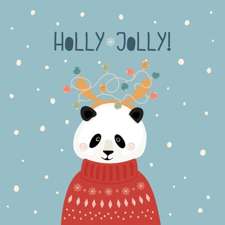 Cute Christmas card with Panda in sweater with horns and garland in flat style. Handwritten lettering Holly Jolly. Greeting card, banner, postcard. Vector illustration.