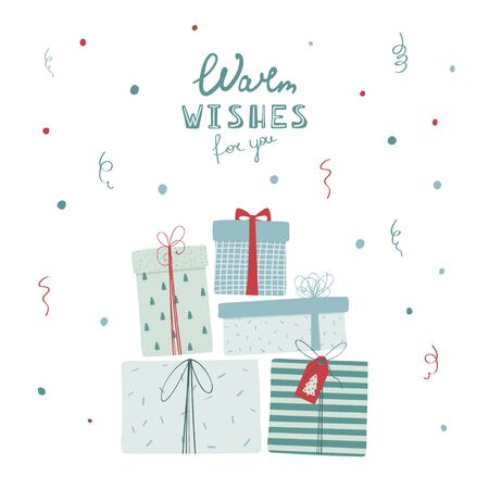 Christmas gift boxes with handwritten lettering Warm wishes for you in flat style. New year illustration for greeting card, poster, banner. Vector
