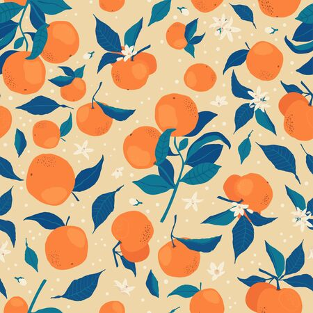 Seamless pattern with branches of oranges, flowers and buds on a beige