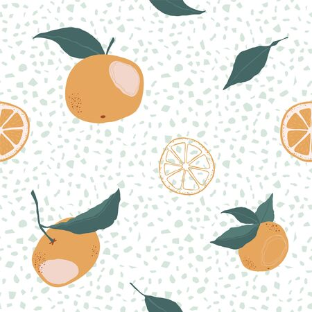 Seamless pattern with oranges and slice on a white Ilustrace