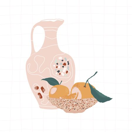 Beige jug with terrazzo mosaic and plate with oranges on a light
