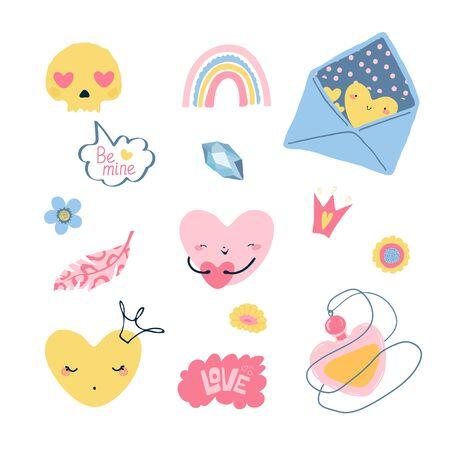 Set von Designerelementen für den Valentinstag im Fllet-Stil. Nette bunte Sprechblase für Grußkarten, Banner, Broschüren. Vektor-Illustration