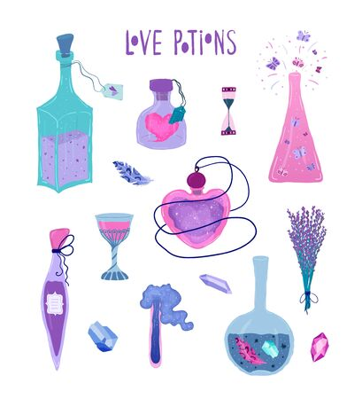 Set magic bottles of love potion isolated on white background in flat style. Illustration with magic symbol, flasks, vials, crystals for love invitation in neon colors. Vector Stock Illustratie