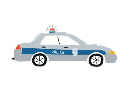 Cute police car isolated on a white background. Icon in hand drawn style for design of children's rooms, clothing, textiles. Vector illustration