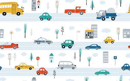 Cute children's seamless pattern with cars, traffic lights and road signs on a white background. Illustration of highway in a cartoon style for Wallpaper, fabric, and textile design. Vector