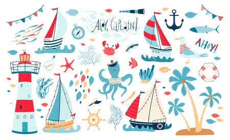 Cute sea collection with sailboat, lighthouse, fish, octopus, Seagull, crab isolated on white background. A set of illustrations for the design of children's rooms and textiles. Vector illustration