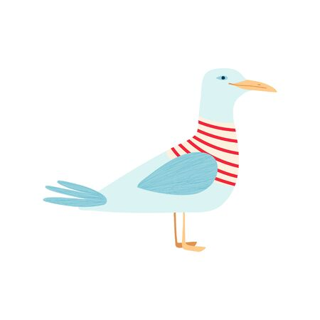 Cute seagull isolated on a white background in a flat style. Vector illustration 일러스트