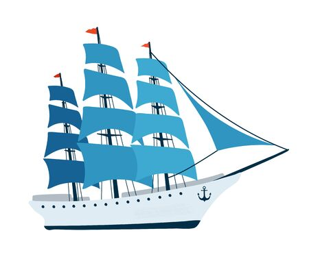 Sailing ship isolated on white background in a flat style. Children's illustration for design of children's rooms, clothing, textiles.Vector illustration Illustration