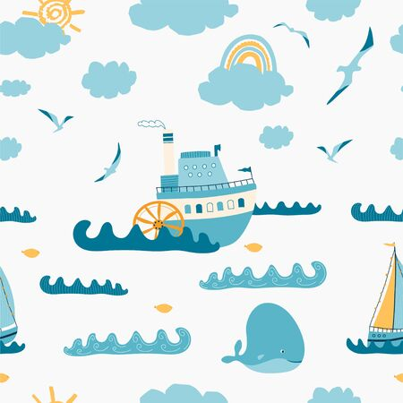 Children's seamless pattern with seascape, steamer, sailboat, whale, Seagull on white background. Cute texture for kids room design, Wallpaper, textiles, wrapping paper, apparel. Vector illustration Illustration