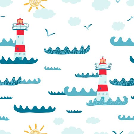 Children's seamless pattern with with seascape, lighthouse, Seagull on white background. Cute texture for kids room design, Wallpaper, textiles, wrapping paper, apparel. Vector illustration Illustration
