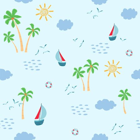 Children's seamless pattern with summer seascape, sailboat, palm trees, Seagull on white background. Cute texture for kids room design, Wallpaper, textiles, apparel. Vector illustration