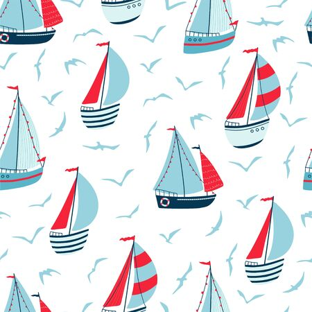 Children's seamless pattern with sailboats, yachts and seagulls on white background. Cute texture for kids room design, Wallpaper, textiles, wrapping paper, apparel. Vector illustration Illustration