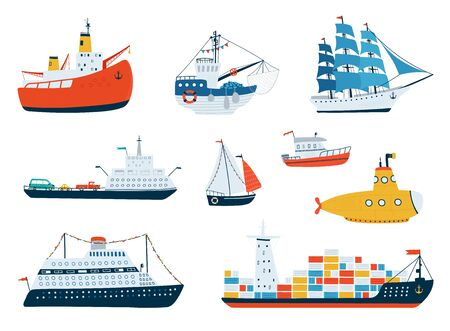 Collection various ships isolated on white background in a flat style. Illustrations of water transport, sailboat, submarine, icebreaker, fishing boat. Vector illustration Ilustração