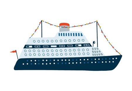 Cruise liner isolated on white background in a flat style. Children's illustration for design of children's rooms, clothing, textiles.Vector