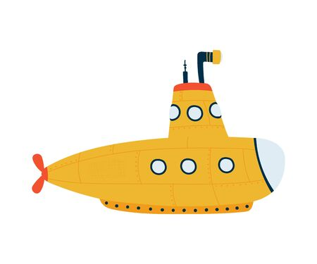 Submarine isolated on white background in a flat style. Children's illustration for design of children's rooms, clothing, textiles.Vector
