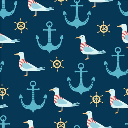 Sea seamless pattern with anchor, seagull, and helm in cartoon style. Cute texture for kids room design, Wallpaper, textiles, wrapping paper, apparel. Vector illustration