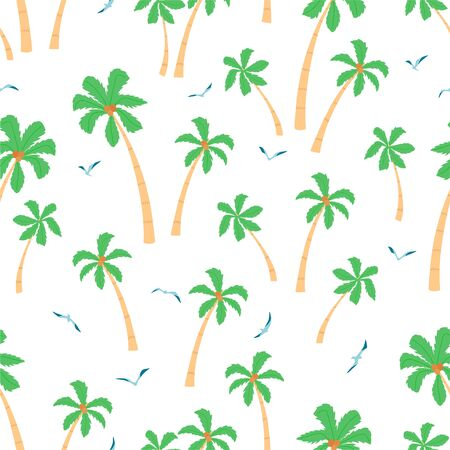 Summer seamless pattern with palm trees and seagulls on white background in cartoon style. Cute texture for kids room design, Wallpaper, textiles, wrapping paper, apparel. Vector illustration Illustration