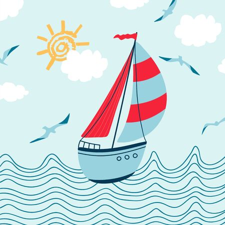 Children's sea poster with seascape, sailboat, seagull and handwritten lettering Summer in cartoon style. Cute concept for kids print. Illustration for the design postcard, textiles, apparel. Vector