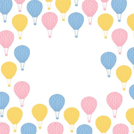 Illustration with air balloons on white background. Cute children's frame with space for text on a white background. Vector