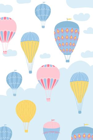Children's poster with air balloons, sun, clouds in cartoon style. Cute concept for kids print. Illustration for the design postcard, textiles, apparel. Vector